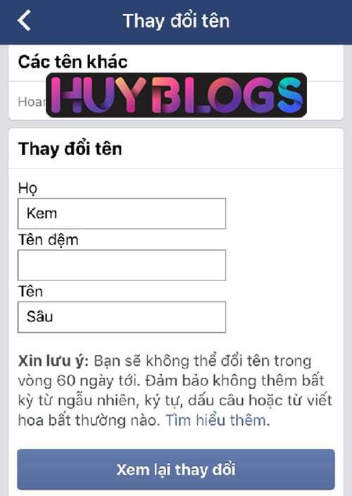 Cách đổi tên Facebook trên điện thoại