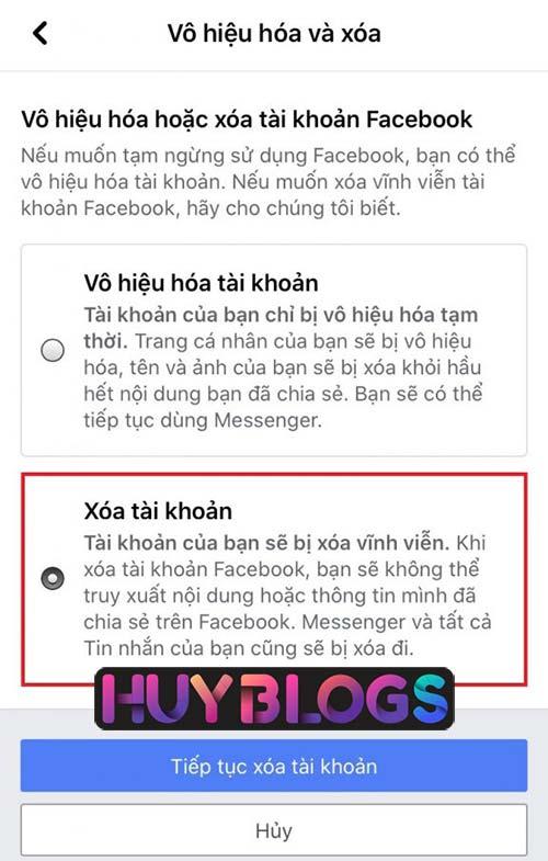 Cách xoá tài khoản facebook trên điện thoại