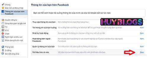 Cách xoá tài khoản facebook trên máy tính
