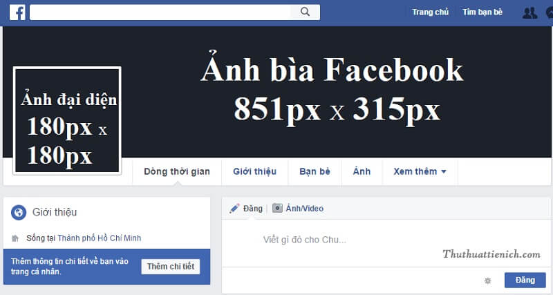kích thước avatar và ảnh bìa facebook cá nhân