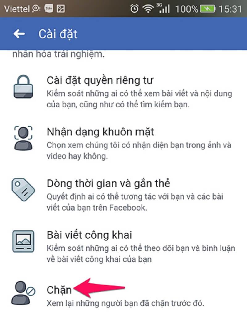 chặn facebook người khác bằng điện thoại