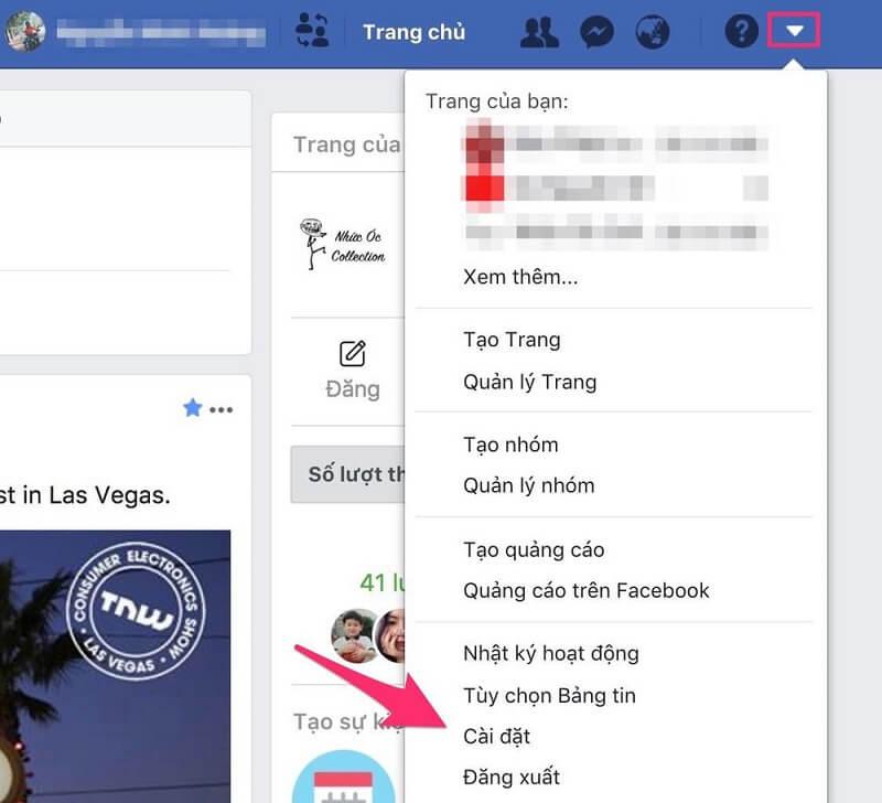 Bước 1 vào mục cài đặt của tài khoản facebook