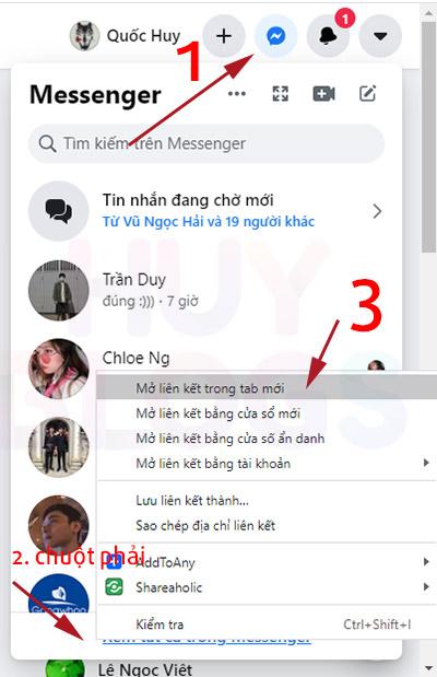 Cách xem lại tin nhắn đầu tiên trên messenger bằng máy tính